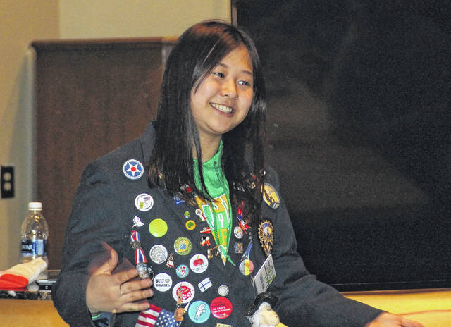 <strong>Tsubasa Miwa discussed her experiences in America with the Northmont Rotary Club at its meeting on Tuesday, March 20.</strong>