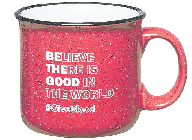 <strong>Free to donors is a red, campfire style stoneware mug featuring a block letter design with &#8220;Be The Good&#8221; in solid white lettering as an anagram of the &#8220;Believe There is Good in the World&#8221; message in outlined letters.</strong>