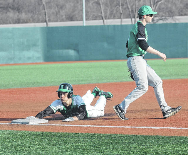 <strong>Carson Wagoner slides in safe at third base in the bottom of the third inning vs. Bethel.</strong>