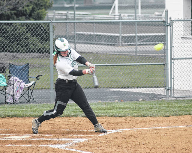 <strong>Kassie Kelemen belts a home run to center to give Northmont a 5-4 lead in the bottom of the 5<sup>th</sup> inning vs. Xenia.</strong>