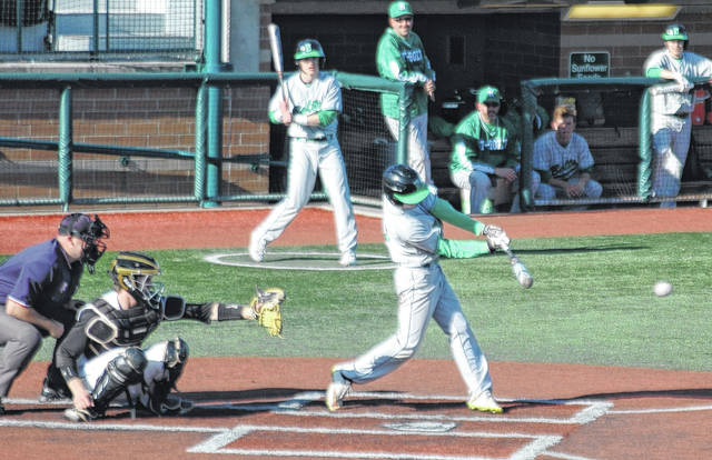 <strong>Nick Moomey belts a RBI double to center field in the top of 2<sup>nd</sup> inning.</strong>