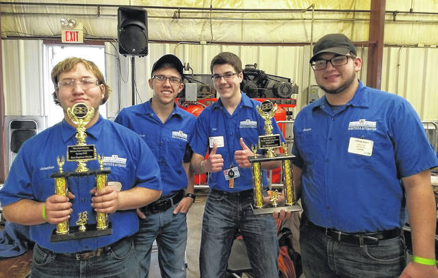 <strong>The MVCTC Robotics and Automation team of Kaylee Brandt (Valley View), Caleb Bergen (Northmont), Jonathan Kitchens (West Carrollton), Alec Dickenson (Huber Heights) and Cole Good (Franklin Monroe) won Best Engineered and Best Sportsmanship with their Bot Sloth at the XtremeBots competition.</strong>