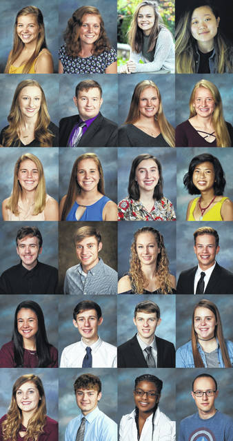 <strong>Pictured left to right from top: Madelyn Auxier, Emma Bodiker, Brianna Brown, Jennifer Chae, Grace Counts, Matthew Eilerman, Stephen A. Felton, Taylor Raye Garrison, Alison Hamant, Jenna Hoschouer, Emily Ann Howard, Caitlin Hoyng, Whitney Ying Lai, Ryan Laing, Ryan Pullins, Jordan Rife, Austin Schroeder, Kyle Selhorst, Isabel Stoffel, Hanna Toth, Carson Wagoner, Whitney White, Sydney McGilton, and Mark Wood.</strong>
