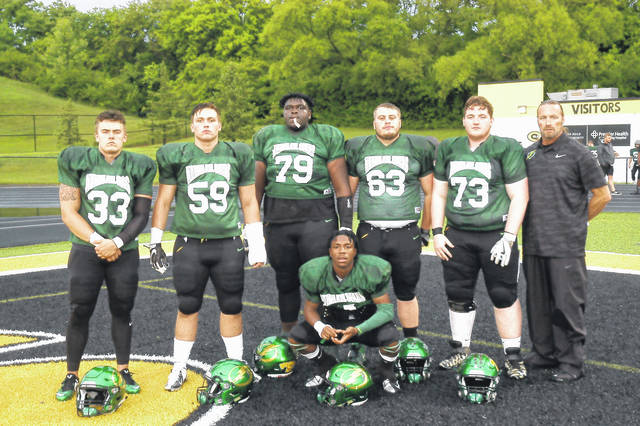 <strong>Northmont was well represented Friday at the weather shortened MVFCA North vs. South All-Star game. Pictured standing left to right is Logan Jewsikow, Tim Sexton, Jalen Hinton, Trace Jordan, Logan Kincer and Head Coach Tony Broering. Kneeling is Donavin Wallace.</strong>