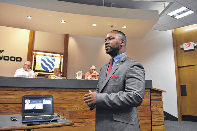<strong>Montgomery County Recorder Brandon McClain discussed the importance of property owners enrolling in the Fraud Alert Notification System at Tuesday night&#8217;s meeting of Englewood City Council.</strong>