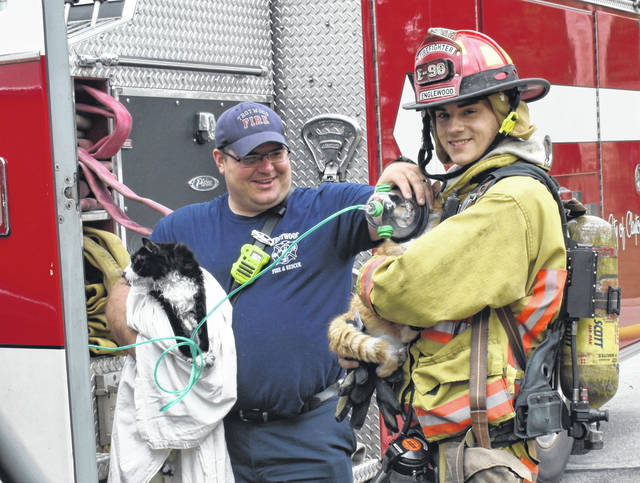 Ron Nunnari | AIM Media Midwest <strong>Firefighters from Trotwood and Englewood administer oxygen to a pair of cats rescued from a house fire Wednesday morning on Reeves Court in Clayton.</strong>