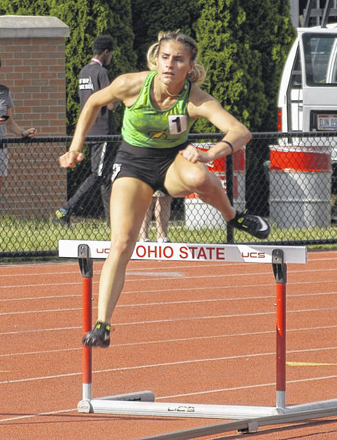 Ron Nunnari | AIM Media Midwest Leila Hill placed 6th in the 300 hurdles at state in 44.69 seconds.