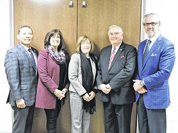<strong>The members of the Northmont Board of Education, left to right, Dr. Karl &#8220;Gerry&#8221; Espeleta, Jane Woodie, Linda Blum, Thomas L. Walker, Sr., and Christopher Pulos.</strong>