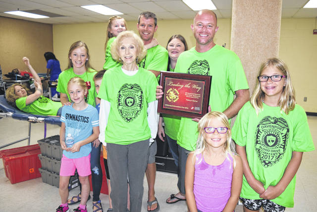<strong>The Bill Davenport family poses for a photo at the 2017 Bill Davenport Memorial Blood Drive.</strong>