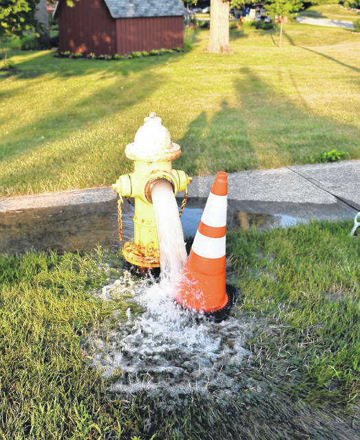 <strong><strong>This fire hydrant on Taywood Road as well as another in front of the DP&amp;L substation were left open all day Monday in an effort to clear air from a waterline that was causing local residents to experience cloudy tap water.</strong></strong>