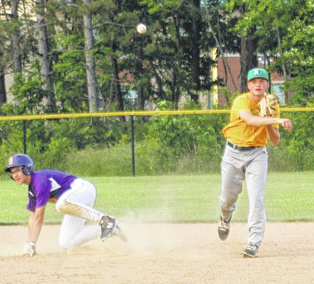 <strong>Justin Combs, shown completing a double play against Butler during regular season play, went three for four with four RBI to help lead the Thunderbolts to victory over Butler in ACME sectional tournament play Saturday at Carroll High School.</strong>