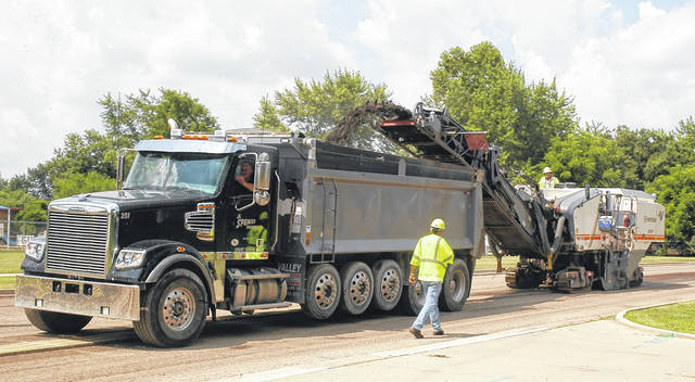 <strong>The John R. Jurgensen Company began grinding off the existing surface of Old Salem Road early Wednesday morning to prepare the road for a new layer of asphalt. The work will take place between Union and Taywood roads July 5 through July 7.</strong>