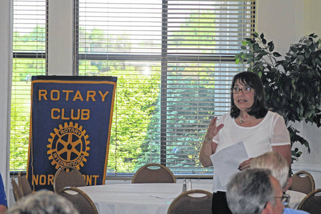 <strong>Montgomery County Treasurer Carolyn Rice recently spoke to the Northmont Rotary Club about tax issues as well as the Montgomery County Land Bank.</strong>