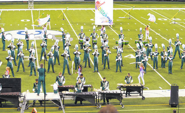 <strong>The Northmont Marching Band is shown performing at a Bands of America competition in Indianapolis.</strong> Contributed photo