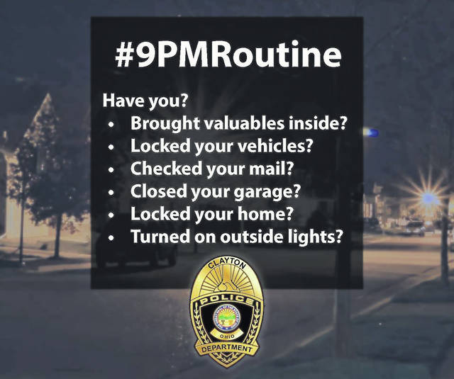 <strong>The Clayton Police Department has launched a social media campaign, #9PMRoutine in an effort to reduce thefts from unlocked vehicles.</strong>