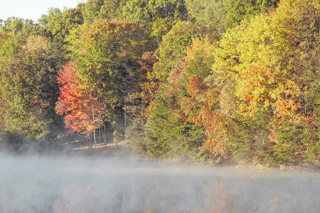 <strong>A scenic view of colorful fall foliage at Rose Lake.</strong>