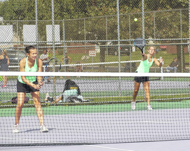 <strong>Athaiah Peters (left) and Hailey Jenkins placed third at first doubles in the GWOC Silver Bracket tennis tournament last Wednesday at Helke Park in Vandalia.</strong>