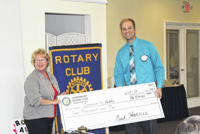 <strong>Deb Stahl (left) is shown receiving a donation check for $5000 from Brad Rarick, Rotary President Elect.</strong>