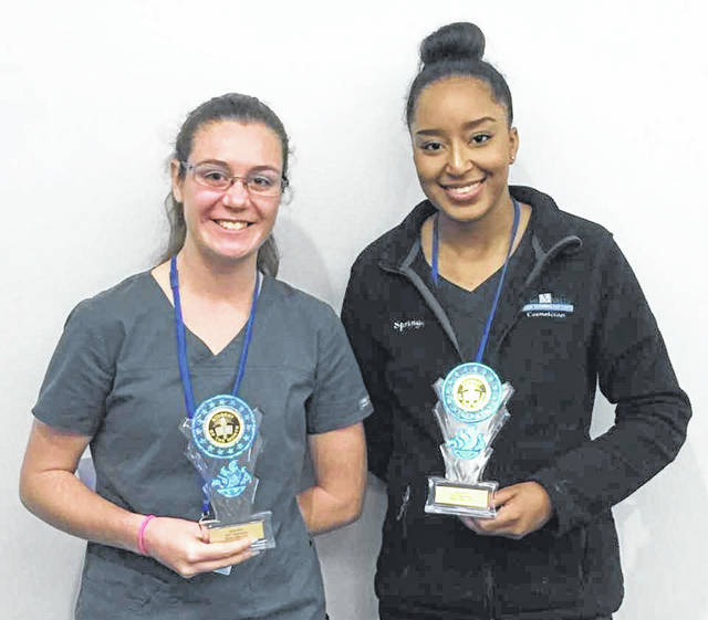 <strong>MVCTC September Health and Consumer Science Students of the month are Melaney Stewart (left) of Northmont and Springg White of West Carrollton. Both were recognized for academic achievement, attitude, leadership skills, and attendance.</strong>