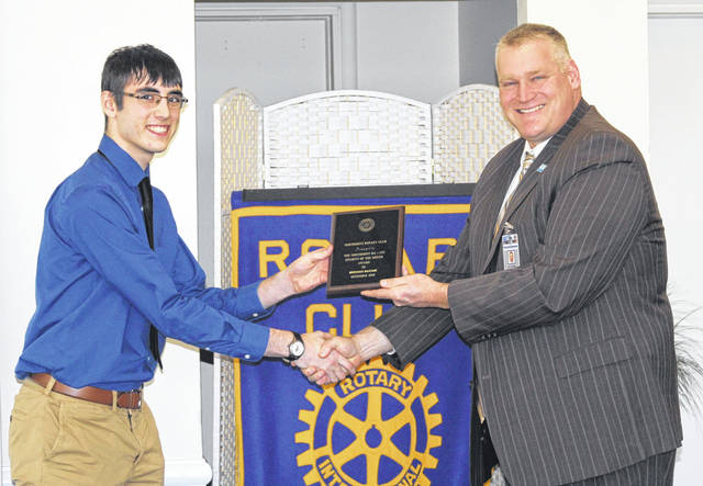 <strong>Brennan McCabe is shown receiving his Northmont Rotary Student of the Month award from Northmont Rotarian and MVCTC Superintendent Dr. Nick Weldy.</strong>
