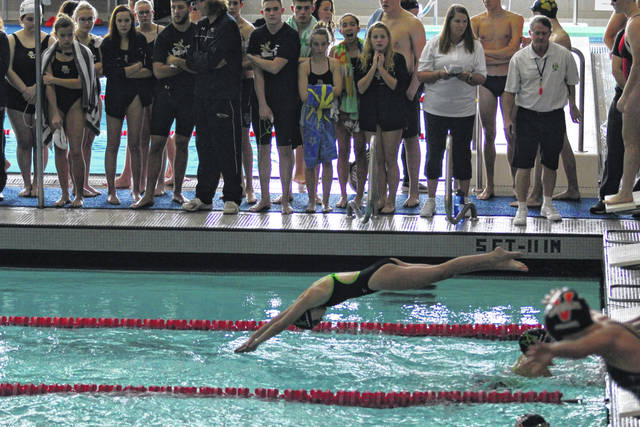 <strong>Sophomore Phoebe Caraway diving in for the butterfly leg of the girls 200 yard Medley Relay.</strong>