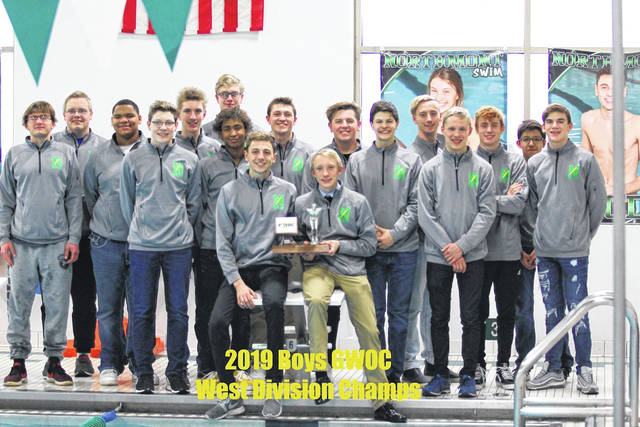<strong>The Northmont boys swim team poses with its GWOC West Division 1st place trophy.</strong>