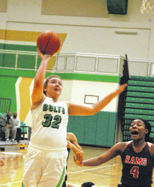 <strong>Gabby Kline scores inside during the second quarter against Trotwood.</strong>