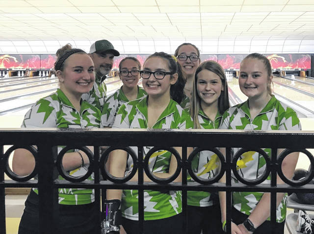 <strong>The Northmont girls varsity bowling team, left to right: Autumn Jenkins, Coach Brian Beighley , Chase Solberg, Hailey Yingst, Rachel Banks, Megan Schaurer, and Cassidy Hunter.</strong>