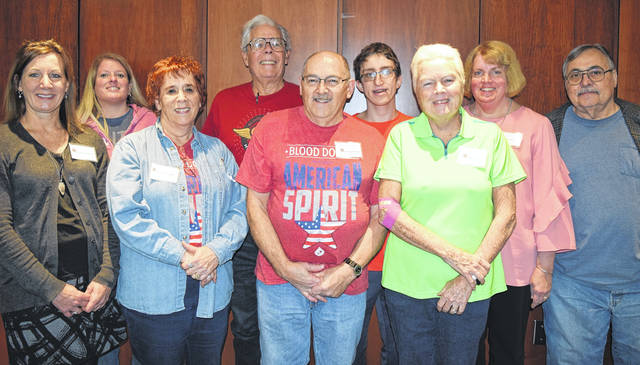 <strong>CBC honored donors, left to right: Susan Leugers, Teri Hunley of Englewood, Judy LaMusga, Glenn Stoops, Wendell Clark, Theodore Hale, Katie Ellis, Kelly Schmitmeyer, Bert Jones.</strong>