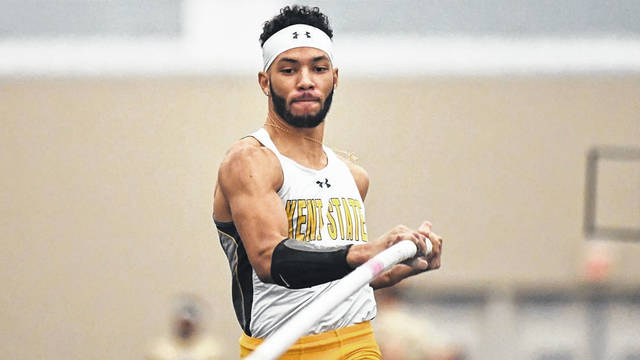 <strong>Christian Champen broke Kent State's indoor program record in the pole vault Saturday, Feb. 2 on the final day of the Akron Invitational. Champen cleared a height of 17 feet, 5.75 inches to place his name atop the Kent State record book and finished second in the pole vault.</strong>