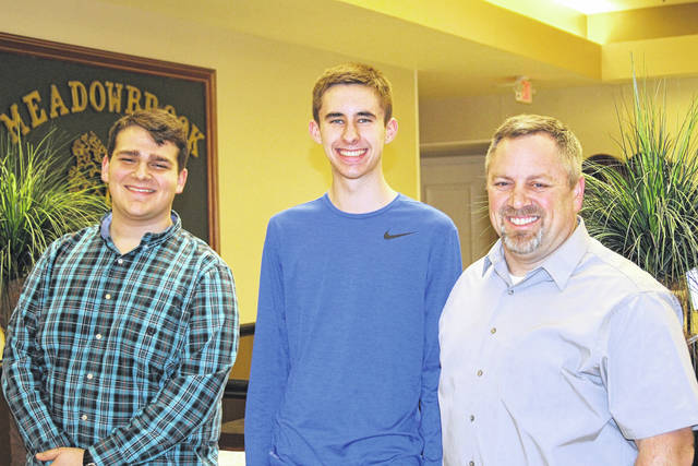 <strong>Sponsoring teacher of the Northmont Interact Club Matt Maiken (right) is joined by Northmont students Kellen Duffy (left) and Josh Hanssen (center).</strong>