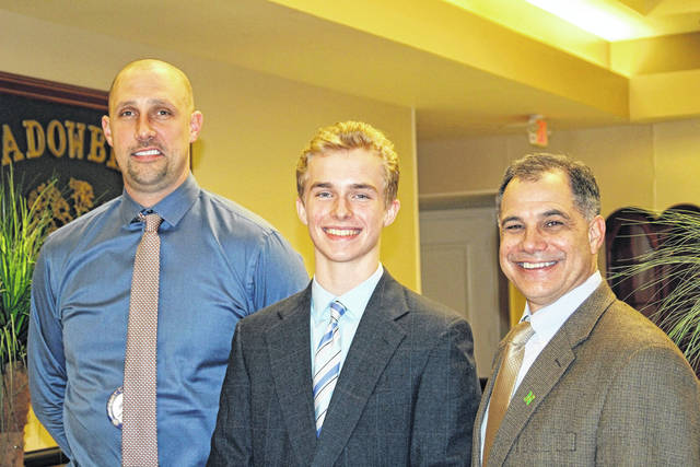 <strong>Matthew Correll (center) is shown with Northmont Middle School Principal Jarrod Brumbaugh (left), coordinator of the program, and Northmont Superintendent Tony Thomas (right), president of the Northmont Rotary.</strong>
