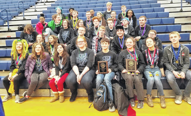 <strong>The Northmont Middle School Science Olympiad teams celebrate their fourth place win at the regional competition at Piqua High School on Saturday, March 16. The team will go to state competition at The Ohio State University on April 27.</strong>