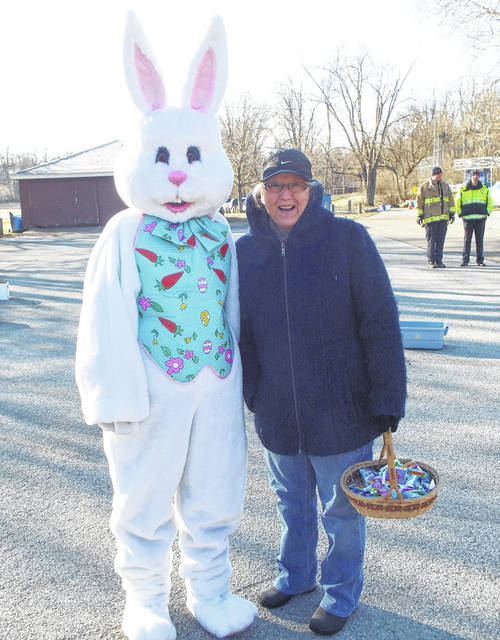 <strong>Nancy Bertling poses with the Easter Bunny during one of the city's past Easter Egg Hunts held at Hardscrabble Park.</strong>