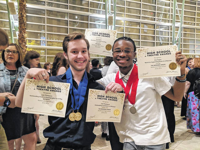 <strong>Josh Thompson (left) and Eric Payne holding the awards they received during this spring's Miami Valley High School Theatre Awards and Awards Showcase.</strong>