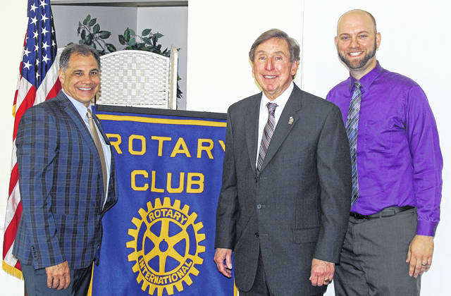 <strong>Montgomery County Prosecuting Attorney Mat Heck, Jr., is pictured with Rotary President Tony Thomas (left), and Rotary President-elect Brad Rarick (right).</strong>