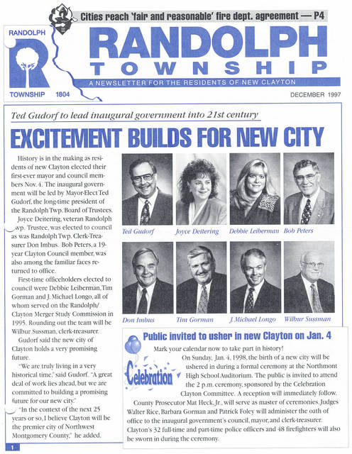 <strong>The December 1997 issue of the Randolph Township newsletter invited the residents to the inauguration of the new city on Jan. 4, 1998.</strong>