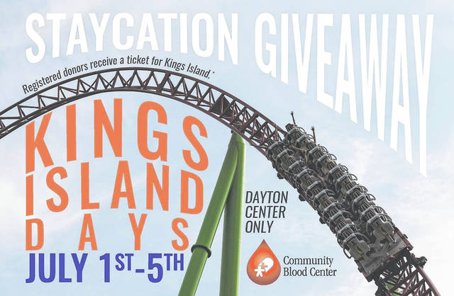 <strong>The Community Blood Center 'Staycation Giveaway Blood Drive' takes place July 1 – 5. Everyone who registers to donate will receive one complimentary ticket to Kings Island.</strong>