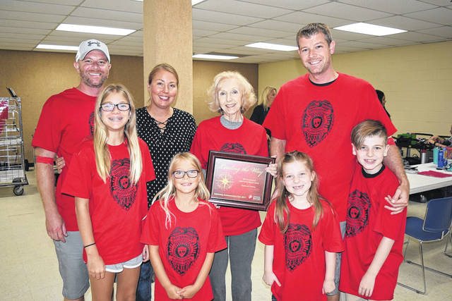<strong>The Davenport family at the 2018 Officer Bill Davenport Memorial Blood Drive, which is held in the community room at the Englewood Government Center.</strong>