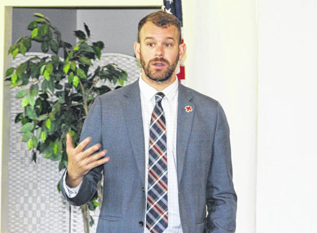 <strong>Executive Director of the Dayton Area Chapter American Red Cross Cory Paul recently addressed the Northmont Rotary Club.</strong>