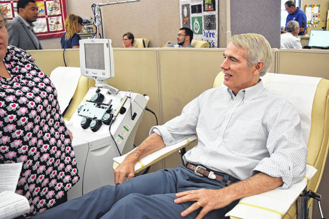 <strong>U.S. Senator Rob Portman (R-Ohio) was in Dayton on Monday to donate blood at the Dayton Community Blood Center in the wake of a mass shooting in Dayton on Sunday. </strong>