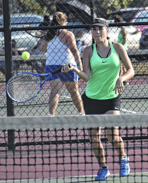 <strong>Aubrey Ferrell defeated Brookville's Emma Burton 6-0, 6-0 at first singles.</strong>