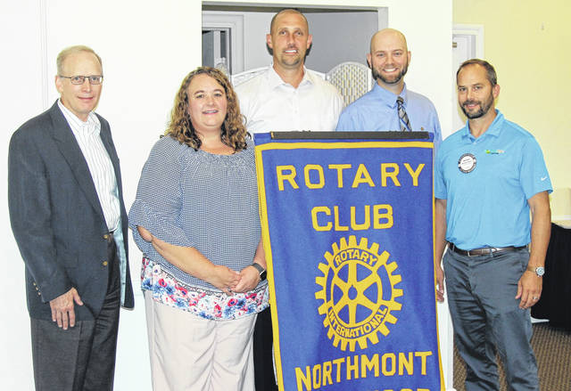 <strong>Pictured left to right are Jay Schindler (MVLF President), Todd, Jarrod Brumbaugh (Rotarian and Northmont Middle School Principal), Brad Rarick (Northmont Rotary President), and Michael Moyer (Rotarian and Mentor with MVLF for a Northmont student).</strong>