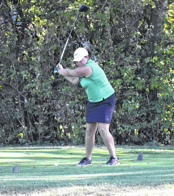 <strong>Sam DeSpain prepares to hit a tee shot in a recent match vs. Beavercreek at Meadowbrook Golf Course.</strong>