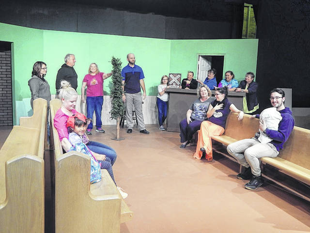 "The majority of the cast of ""A Gift to Remember"" at Brookville Community Theatre is shown at a recent rehearsal for the upcoming show."