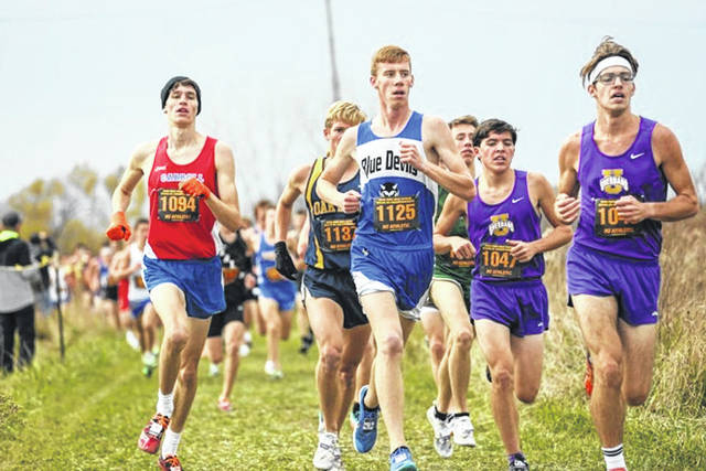 Brookville High School cross-country runner Justin Bland (bib number 1125) is shown competing in the Division II Ohio State Cross-Country Championship meet, held Saturday at National Trail Raceway in Hebron. Bland, a senior, finished his high school career with a 19th place finish.