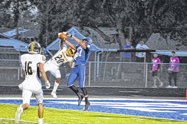 Brookville's Daniel Dominique (17) goes up for this catch over Monroe's TeJean Rice during the 2019 season. Dominique was named first team ALL-SWBL for his performance this past season.