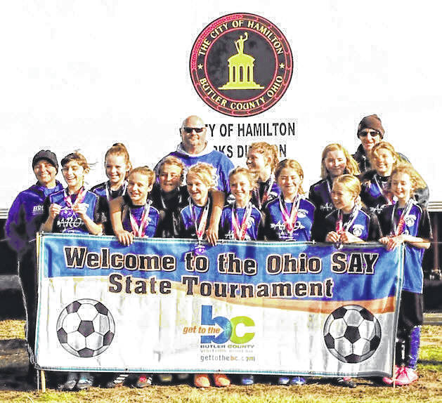The 2019 Brookville girls Strikers SAY team. They finished fourth in the recent Ohio State SAY tournament.
