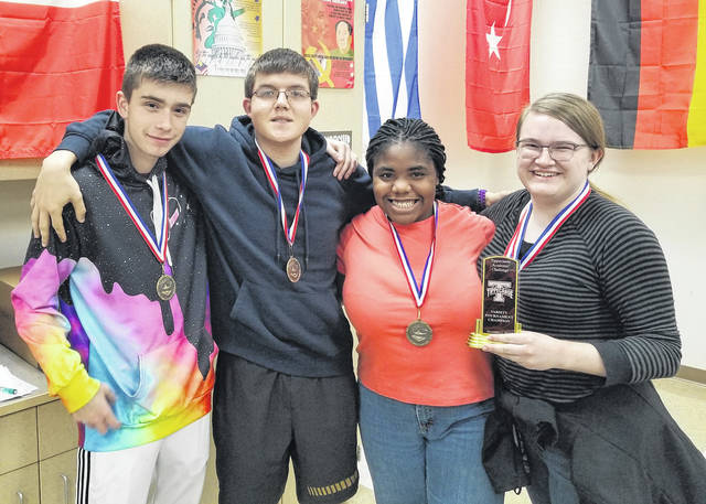 <strong>Northmont High School Academic Challenge team members: Sean Scranton, Seth Eggleston, Amara Nwanoro, and Samantha Street.</strong>