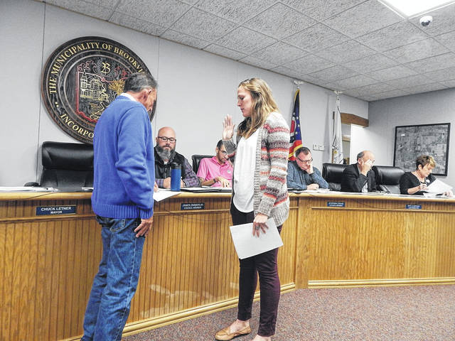 Brookville Mayor Chuck Letner is shown administering the oath of office to new Brookville Finance Director, Michelle Brandt. Brandt's hiring was approved at the Nov. 5 Brookville City Council meeting.